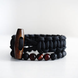 Dark Wood Button Paracord Bracelet with Lava Beads Bracelet