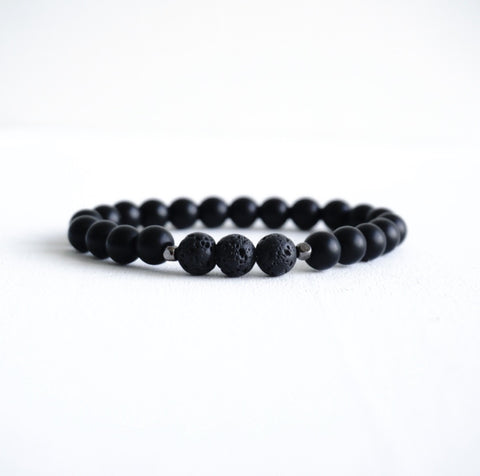 Matte Black Onyx Bracelet with Multi Colors Beads (8mm)