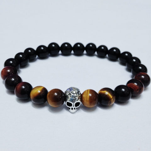 Premium Skull Bracelet with Tiger Eye Beads