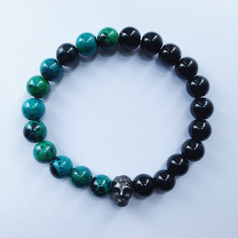 Black Skull Bracelet with Chrysocolla Beads