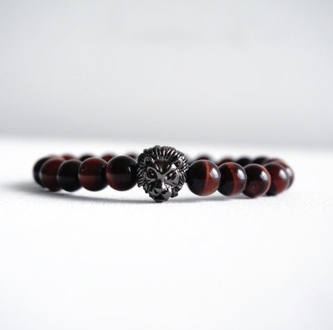 Premium Lion Head Bracelet with Tiger Eye Beads