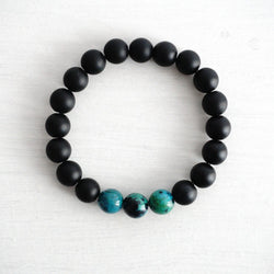 Matte Black Onyx Bracelet with Multi Colors Beads (10mm)