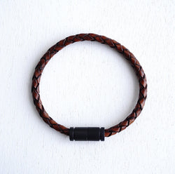 Matte Black Magnetic Clasp No.1 with Genuine Braided Leather