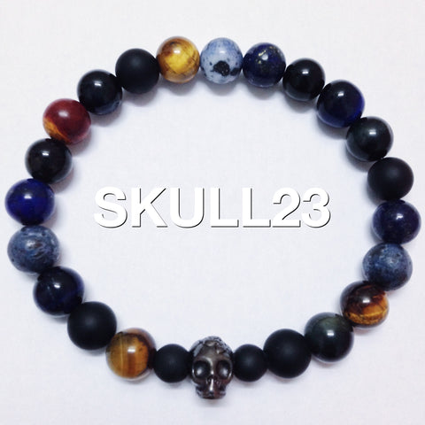 Skull Bracelet With Multi Colors Beads.