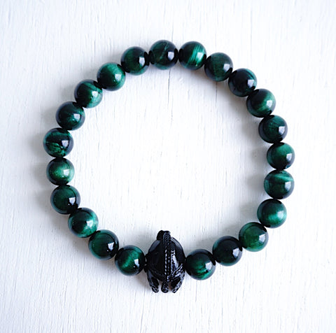 Black Spartan Bracelet with Green Tiger Eye Beads