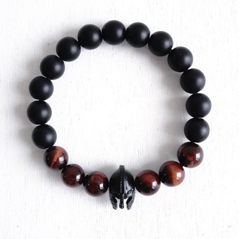 Matte Black Spartan Bracelet with Tiger Eye Beads