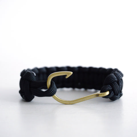 Brass Fish Hook with Black Cobra Strap