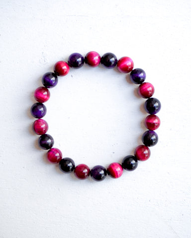 Minimal Rose Pink Purple Tiger Eye Bracelet