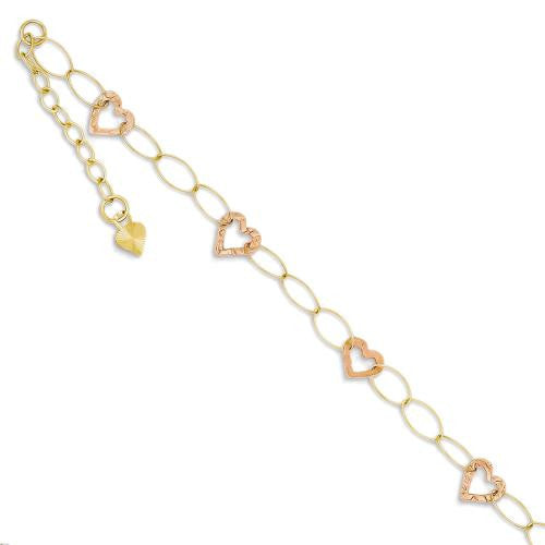 "14k Rose and Yellow Gold Heart Station Anklet Ankle Bracelet, 9"" + 1"" Ext - SassyGlam.com"