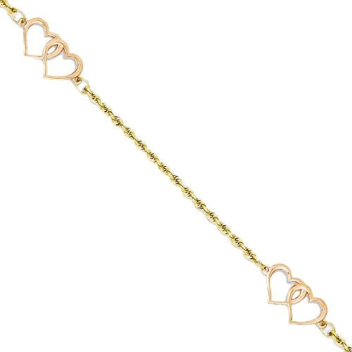 14k Rose and Yellow Gold Double Heart Station Anklet Ankle Bracelet - SassyGlam.com
