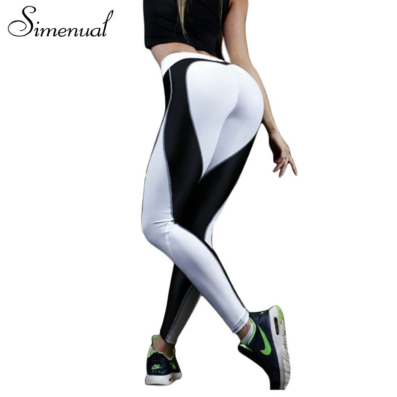 Simenual Heart pattern mesh splice leggings