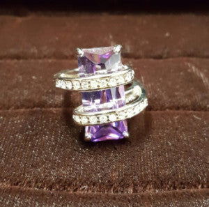 FG040 Amethyst 14kt White Gold Filled Ring - Trinkets & Things Handmade with Aloha