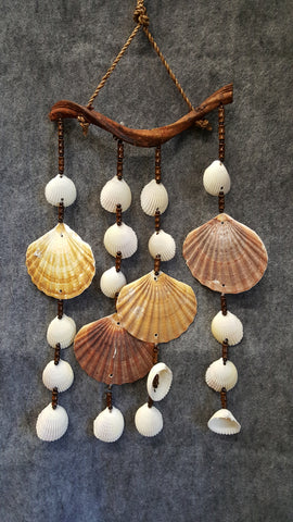 CH047 Flat & Pectin Sea Shell Wind Chime - Trinkets & Things Handmade with Aloha