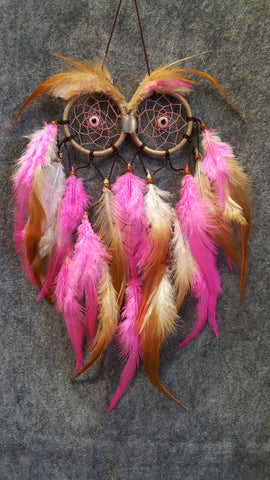 CH052 Pink & Brown Feathers Owl Dream Catcher - Trinkets & Things Handmade with Aloha
