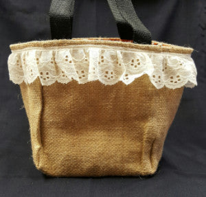 "QT002 Plain Burlap with 2"" lace - Bandana University of Texas liner - Trinkets & Things Handmade with Aloha"