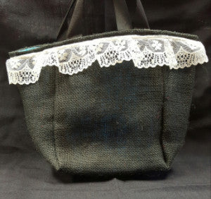 "QT008 Black Burlap with 2"" lace - Aqua Blue liner - Trinkets & Things Handmade with Aloha"