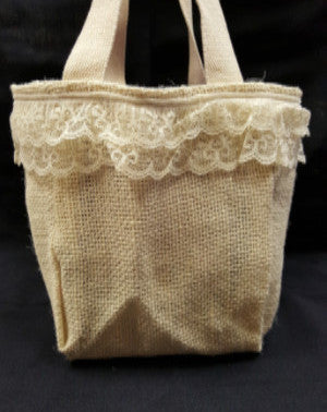 "QT010 White Burlap with 3"" lace - Purple liner - Trinkets & Things Handmade with Aloha"