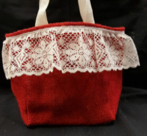 "QT012 Red Burlap with 3"" Lace - Red & White liner - Trinkets & Things Handmade with Aloha"