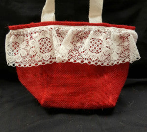 "QT014 Red Burlap with 3"" Lace - Red Liner - Trinkets & Things Handmade with Aloha"