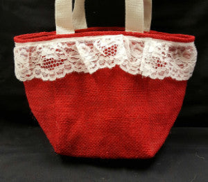 "QT015 Red Burlap with 2"" Lace - Red Liner - Trinkets & Things Handmade with Aloha"