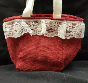 "QT013 Red Burlap with 2"" Lace - Red Tye Dye liner - Trinkets & Things Handmade with Aloha"