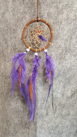 "CH091 3"" Leather Wrapped Dream Catcher - Trinkets & Things Handmade with Aloha"