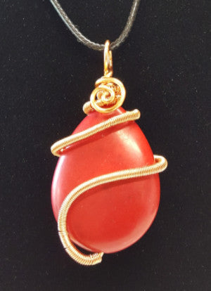 WW138 Wire Wrapped Dyed Howlite - Trinkets & Things Handmade with Aloha