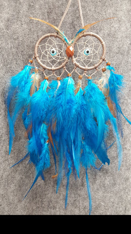 CH108 Blue & Brown Feathers Owl Dream Catcher - Trinkets & Things Handmade with Aloha