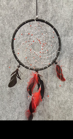 "CH103 6"" Black Leather Frame Dream Catcher - Trinkets & Things Handmade with Aloha"