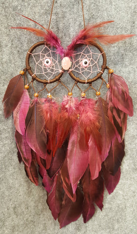 CH109 Burgandy Feathers Owl Dream Catcher - Trinkets & Things Handmade with Aloha