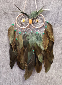 CH110 Green Feathers Owl Dream Catcher - Trinkets & Things Handmade with Aloha