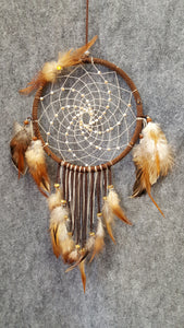 "CH106 6"" Brown Feather Dream Catcher - Trinkets & Things Handmade with Aloha"