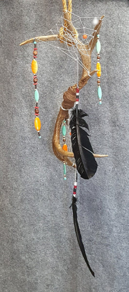 CH065 Double Deer Antler Dream Catcher - Trinkets & Things Handmade with Aloha