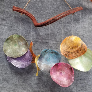 CH095 Colorful Saddle Oyster Shell Chime - Trinkets & Things Handmade with Aloha