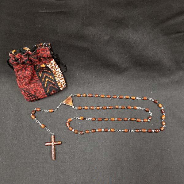 Koa Wood Rosary with Tapa Pouch - Trinkets & Things Handmade with Aloha