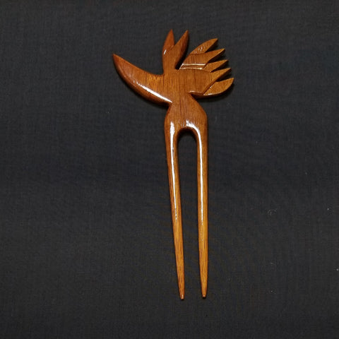Koa Wood Hair Pick - Bird of Paradise - Trinkets & Things Handmade with Aloha