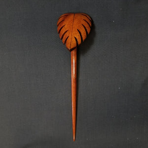 Koa Wood Hair Pick - Monstera Leaf - Trinkets & Things Handmade with Aloha