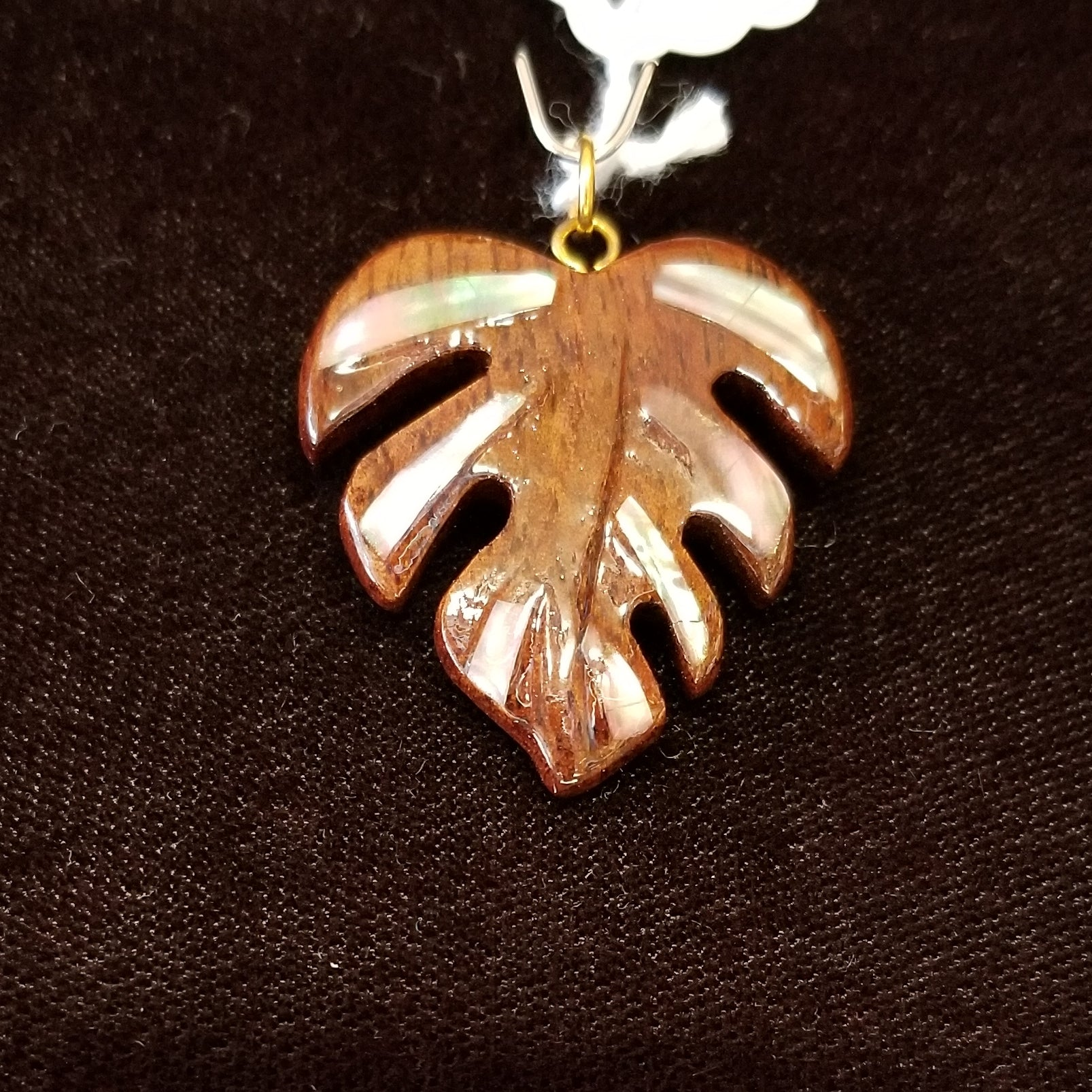 Koa Wood Pendant - Monstera with Mother of Pearl Inlay - Trinkets & Things Handmade with Aloha