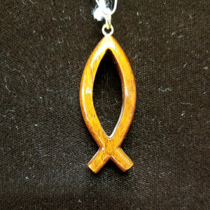 Koa Wood Pendant - Small Christian Fish - Trinkets & Things Handmade with Aloha