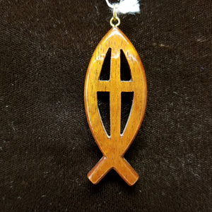 Koa Wood Pendant - Large Christian Fish with Symbol - Trinkets & Things Handmade with Aloha