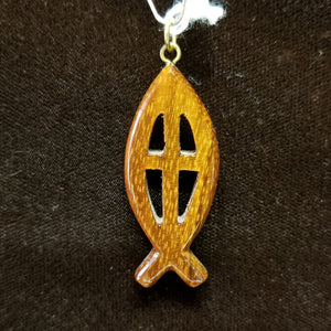 Koa Wood Pendant - Small Christian Fish with Symbol - Trinkets & Things Handmade with Aloha