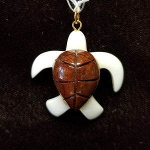 Koa Wood Pendant - Large Honu with Bone - Trinkets & Things Handmade with Aloha