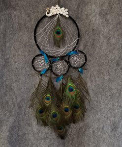 CH105 Peacock Feathered Dream Catcher - Trinkets & Things Handmade with Aloha