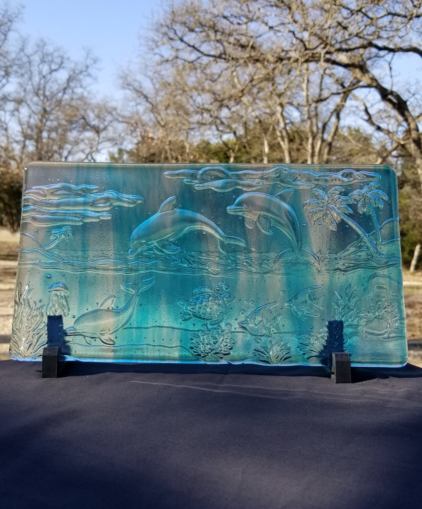 M105 Fused Glass Slabs Sea Scape - Trinkets & Things Handmade with Aloha