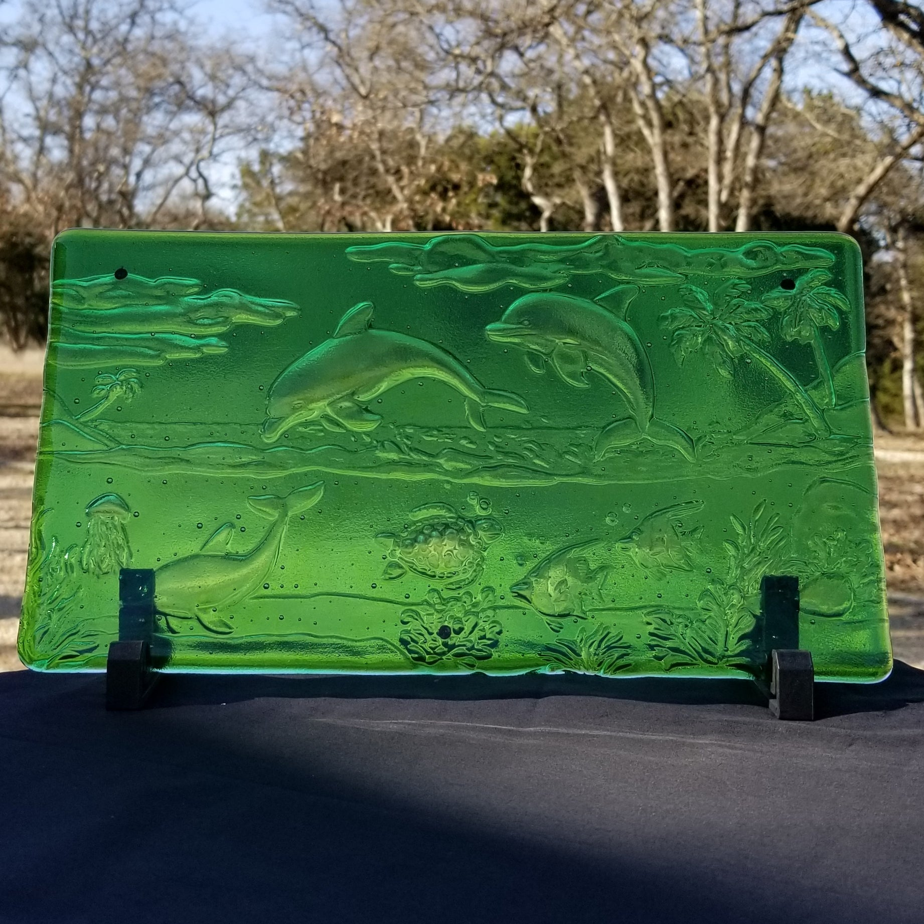 M108 Fused Glass Slabs Sea Scape - Trinkets & Things Handmade with Aloha