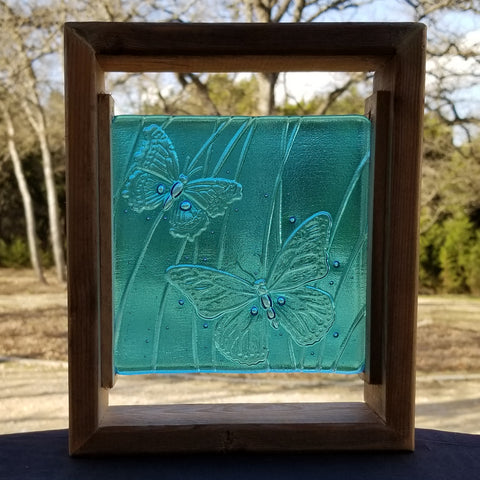 M101 Fused Glass Slabs Buterflies in Frame - Trinkets & Things Handmade with Aloha
