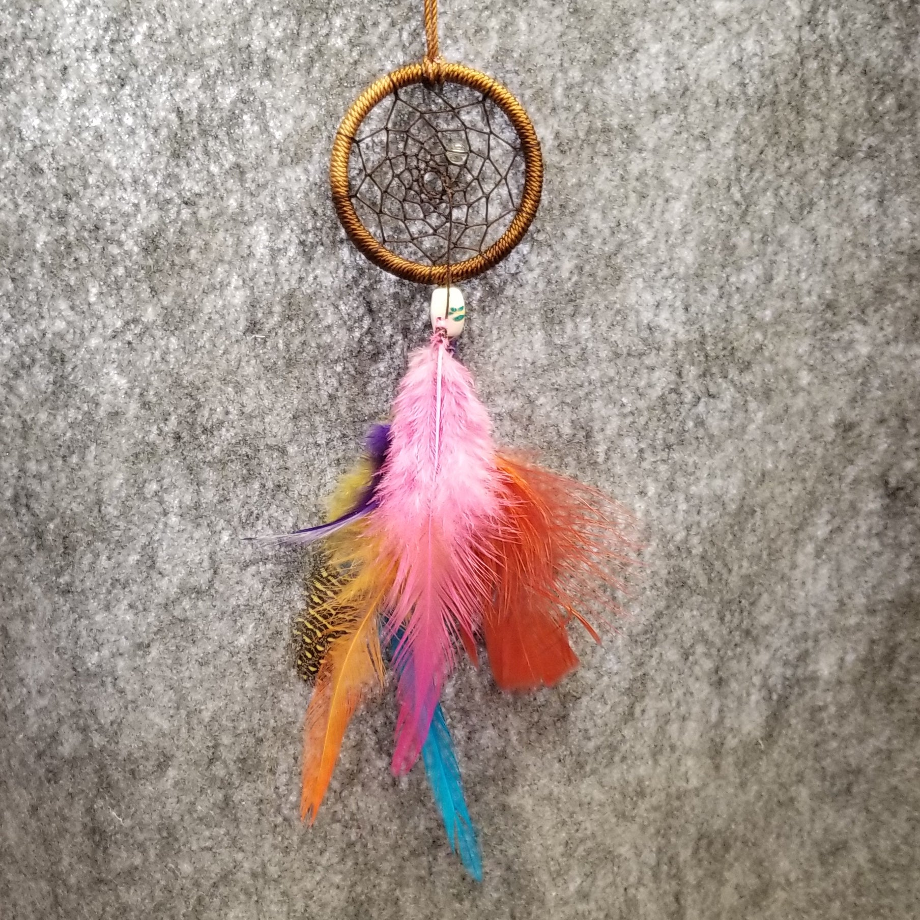 CH027 Tri-color brown dream catcher with multicolor feathers - Trinkets & Things Handmade with Aloha