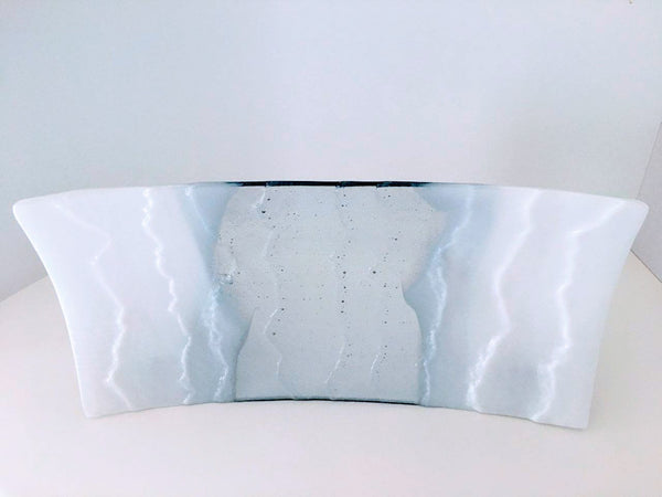 M116 White and Clear Fused Glass Plate - Trinkets & Things Handmade with Aloha