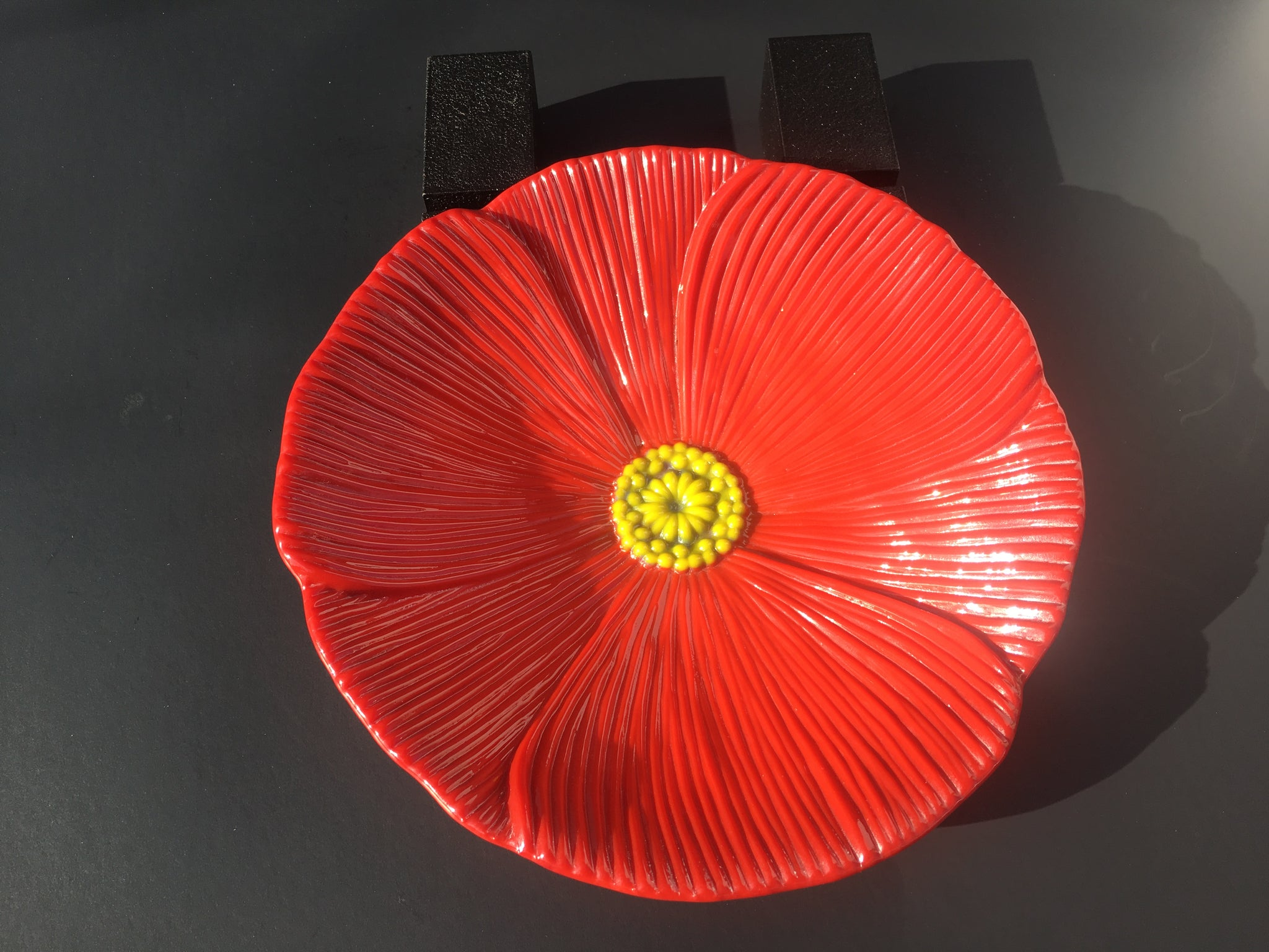 M114 Poppy Flower Fused Glass Bowl - Trinkets & Things Handmade with Aloha