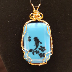 WW179 Wire Wrapped Fused Glass - Trinkets & Things Handmade with Aloha